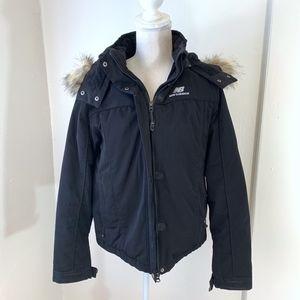 New Balance Black Hooded Winter Jacket {B}